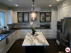 Contemporary Kitchen with High ceiling, Undermount Sink, Slate counters, Sutton Pendant by Birch Lane, Stone Tile, Flush