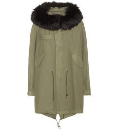 MR & MRS ITALY Xquili Army Cotton Parka With Fur-Trimmed Hood. #mrmrsitaly #cloth #coats