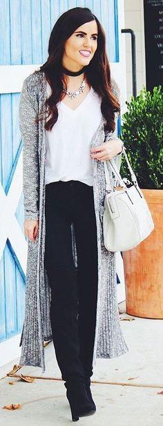 #winter #fashion / Grey Maxi Cardigan / White Top / Black Jeans / Black OTK Boots