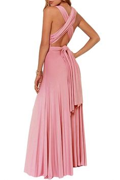 Sexy Pleated Mauve Cocktail Prom Party Maxi Evening Dress - OASAP.com