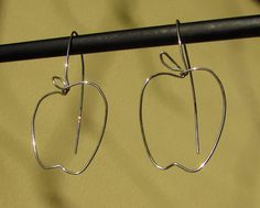 Apple Sterling Silver Wire Fun Dangle Earrings by ButteryJewellery Clothes Hanger, Round Glass, Dangle Earrings, Dangles, Wire, Apple, Jewellery, Sterling Silver, Trending Outfits