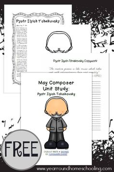 This unit study is a great way to introduce your elementary students to Tchaikovsky, his life and music. Includes printable coloring pages, copywork, and MORE! Elementary Music Lessons, Piano Lessons, Elementary Art, Music Classroom, Music Teachers, Flipped Classroom, Music Activities, Movement Activities, Piano Teaching