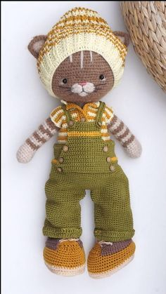 """PDF Crochet pattern """"Farmer Boy Outfit"""" for crocheted or knitted Bunny Cat Dog Toys by Polushkabunny  Another perfect Farmboy Outfit for your crochet doll. Shokingly simple to make. Make your crochet friend look dendy and fashionable. A good mood that will set the tone for the rest of the day, is guaranteed. Diy Crochet Doll, Crochet Doll Pattern, Diy Doll, Crochet Patterns, Cat Amigurumi, Amigurumi Patterns, Homemade Cat Toys, Crochet Projects, Diy Projects"""