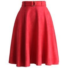 Chicwish Belted Suede A-line Skirt in Red ($47) ❤ liked on Polyvore featuring skirts, red, suede a line skirt, calf length skirts, mid-calf skirt, crop skirt and midi skirt