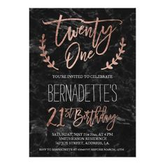 Black and gold or white and gold party invite perfect for a rose gold typography black marble 21st birthday invitation filmwisefo