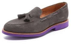 $430, Charcoal Suede Tassel Loafers: Mark McNairy New Amsterdam Tassel Apron Loafers. Sold by East Dane. Click for more info: https://lookastic.com/men/shop_items/26815/redirect