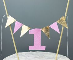 Pink and Gold First Birthday Cake Topper, 1 Year Old Birthday Girl Cake Banner, Girl Smash Cake Bunting, Cake Photo Prop Banner Garland