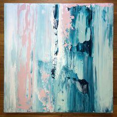Abstract Painting 20x20 Blush Mint White por JenniferFlanniganart