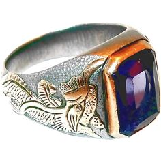 SALE Ends Soon - Shop NOW Chinese Foo Dog Figures Purple Synthetic Sapphire Gold Sterling Mens Ring
