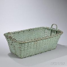 Large Robin's Egg Blue-painted Splint Gathering Basket, New England, c. rectangular form with bent ash handles, ht. 18 in. Old Baskets, Vintage Baskets, Wicker Baskets, Native American Baskets, House By The Sea, Robins Egg, Duck Egg Blue, Weaving Art, Storage Containers