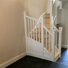 A softwood staircase with single winder turn, spindles and newels have been used, completed with pyramid newel caps. Glass Stairs, Metal Stairs, Painted Stairs, Wooden Stairs, Bespoke Staircases, Wooden Staircases, Curved Staircase, Staircase Design