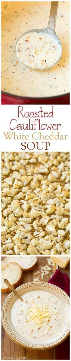 """Recipe for Cauliflower Soup Roasted Cauliflower White Cheddar Soup """"- this soup is AMAZING! So full of delicious flavors."""" Comments: """"Cauliflower is such an under appreciated food! This looks delicious and I can't wait to try it! THIS LOOKS AMAZING!!! I will try it someday!!! I prepared this recipe sans cow milk and wheat flour, the flavours still blended well and made this soup very tasty. Trying this for dinner, with a wilted spinach salad on the side. Yummy!!!! I added a little white…"""