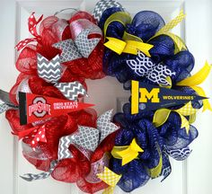 House Divided sports team college university professional Mesh Door Wreath; most teams. 1 HOUSE DIVIDED SPORTS wreath (pictured in Style #1) YOU MUST CHOOSE STYLE #1 (original) OR STYLE #2 (ruffle) - see second picture in listing!! ***Made with two colors of deco mesh and accented with each individual school's colors to showcase the team logos on each side (can be done in pretty much every team). PLEASE MESSAGE ME BEFORE ORDERING FOR SMALL SCHOOLS WHICH I MAY NOT BE ABLE TO GET TEAM…