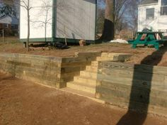 timber retaining wall steps