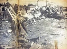 Pacoima Jr. High School Airplane crash of 1957. The wreckage.