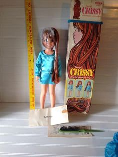 IDEAL BEAUTIFUL CRISSY DOLL 1970 New In Box Factory Plastic Papers and brush!