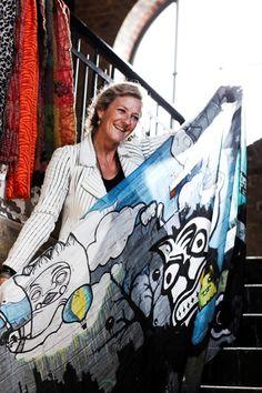 Berlin-graffiti på tørklæder