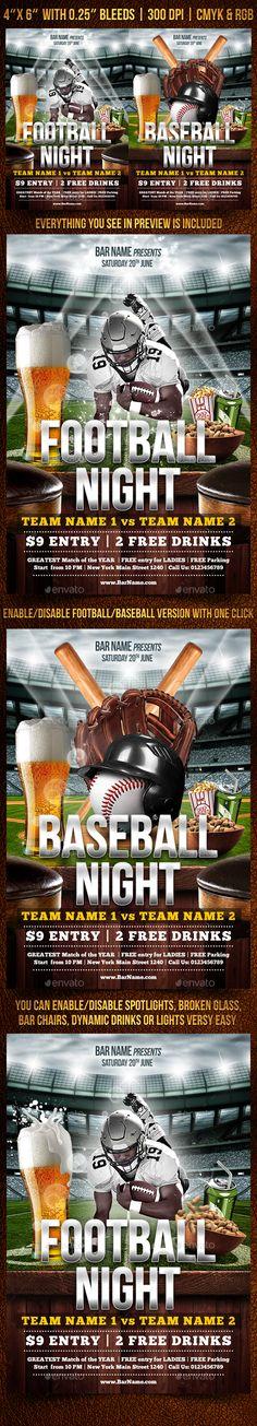 American Football Match Poster \/ Flyer Football match, American - baseball flyer