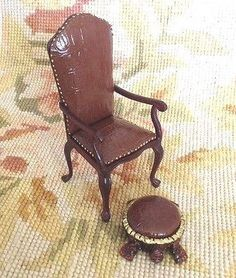 Chair Seat & Stool Ottoman 1:12 Dollhouse Miniature