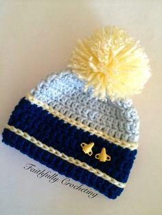 Newborn beanie.. Pom pom hat.. Plane by FaithfullyCrocheting