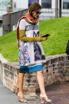 Pattern Mixing, Multiple Stripes | Street Style | Christine Centenera