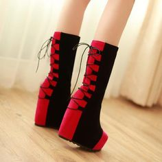 Lovely Suede Red Chalaza Lacing Round Closed Toe Wedge Super High Heel Boots