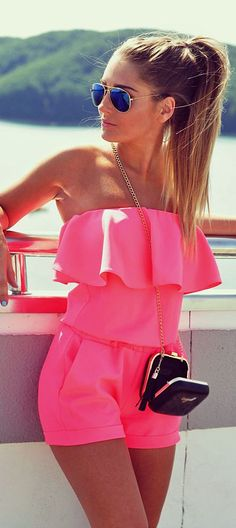 Styleev Neon Pink Ruffle Strapless Romper