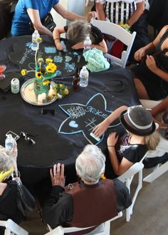 Use chalk boards on your reception table to reserve spaces and entertain guests | Offbeat Bride