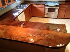 Another Concrete Overlay And Acid Stain Wonder Over An Existing Formica Countertop What To Know
