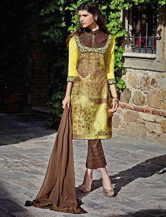 Yellow & Brown Cotton Design Salwar Kameez & Shawl $48.00 For Order whtsap at 9582233490 #yellow #brown #cotton #design #salwarkameez #indianstyle #online #womenswear #fashionumang