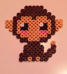 Hama Perler bead monkey by mikagard Perler Bead Designs, Easy Perler Bead Patterns, Melty Bead Patterns, Perler Bead Templates, Hama Beads Design, Diy Perler Beads, Perler Bead Art, Beading Patterns, Peyote Patterns