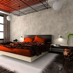 Orange and Black. This color combo isn't limited to halloween. However, there is such a thing as too much. So add accessories line hanging lanterns and rugs, make sure they are in basic colors like white or beige.