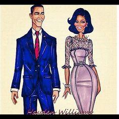 Barack Obama & Michelle Obama by Hayden Williams Michelle Obama Fashion, Michelle And Barack Obama, Black Presidents, American Presidents, Black Love, Black Is Beautiful, Black Art, Beautiful Things, Beautiful People