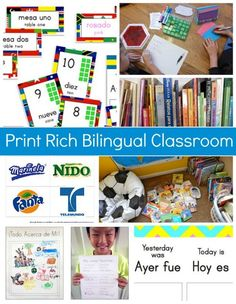 Print Rich Environment for Bilingual home or classrooms, so kids have access to authentic learning materials for pre-literacy skills in both languages! Dual Language Classroom, Bilingual Classroom, Bilingual Education, Spanish Classroom, Multicultural Classroom, Elementary Spanish, Spanish Language Learning, Teaching Spanish, Teaching Kids