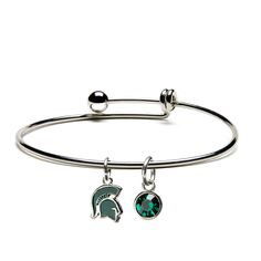 Michigan State Spartans Double Leather Band Bracelet with Charm 7 to 9