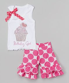 Look at this #zulilyfind! White Cupcake Tank & Pink Dot Shorts - Infant, Toddler & Girls by Beary Basics #zulilyfinds