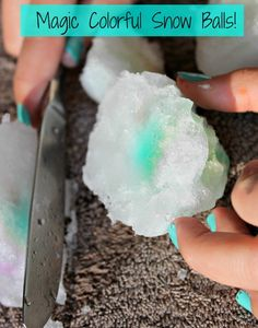 The magical disappearing colorful snowball!!  Such a cool science experiment - and so simple too.  A great idea for playing in the snow!