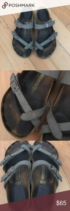 Gray cross strap Birkenstocks Good condition. Size 38. Has a stain on the toe cross (see picture). No box. Birkenstock Shoes Sandals