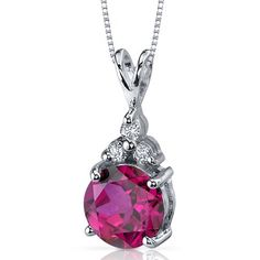 Refined Class 2.75 carats Round Shape Sterling Silver Rhodium Finish Ruby Pendant -