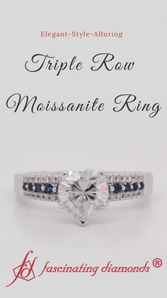 This triple row moissanite engagement ring embraces a luminous moissanite stone held at the hub of the ring flanked by a fine series of dazzling round cut sapphire aligned in the middle in a graduated pattern accentuated by a classic prong setting. The top and bottom rows incorporate tiny round shaped diamonds elegantly highlights your beauty as well as charm. #fascinatingdiamonds #heartshaped #sapphire #diamond #engagementring #love #wedding #round #graduated #prongset #gold #ring #jewelry