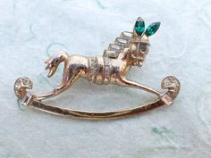 Vintage Signed CORO Pat Pend Rocking Horse Brooch from 1947 figural AB940 by MeyankeeGliterz on Etsy