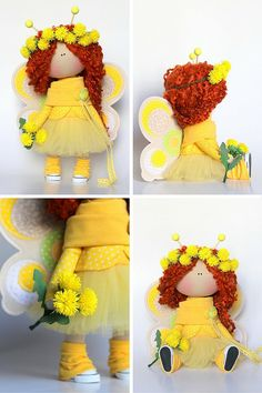 Baby bee doll Fabric doll Tilda doll yellow red curly color Soft doll Cloth doll…