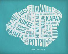 Hawaii Typography Map's : Ashley Johnston Design: Graphic Design Kauai, HI