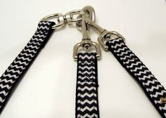 No Tangle Double Leash Black and White by KibblesandCollars, $25.99