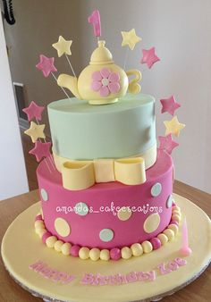 This is a re-make of a cake I did some time ago- this time for a first birthday. Cupcakes, Cupcake Cookies, Tea Cakes, Mini Cakes, Tea Party Birthday, Birthday Cake, Teacup Cake, Beautiful Cake Pictures, Sour Cream Pound Cake