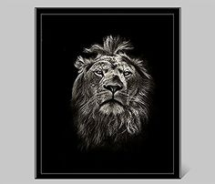 Black White Animal Lion Picture Painting Wall Art On Canv