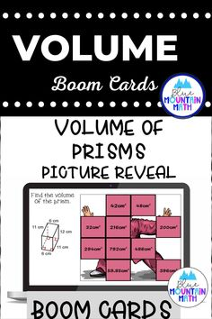 Are you looking for an interactive and self-correcting resource to practice finding the volume of prisms with your students? There are 2 different pictures with 16 problems for each picture. Students start with the picture totally covered by the answer boxes. As they answer each question correctly, more and more of the covered picture is revealed.