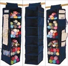 Turn this common closet accessory into an easy way to organize yarn. Or fabric!