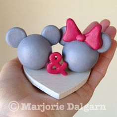 Disney silver and pink red Mickey and Minnie Wedding Cake Topper | livingwiththreemoonbabies.blogspot.com