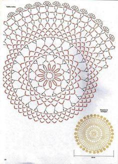 Round doilies brownie z solonym karmelem - Brownie Free Crochet Doily Patterns, Crochet Circles, Crochet Diagram, Crochet Art, Crochet Home, Thread Crochet, Crochet Motif, Crochet Stitches, Crochet Dollies